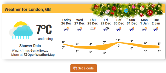 Christmas weather widget