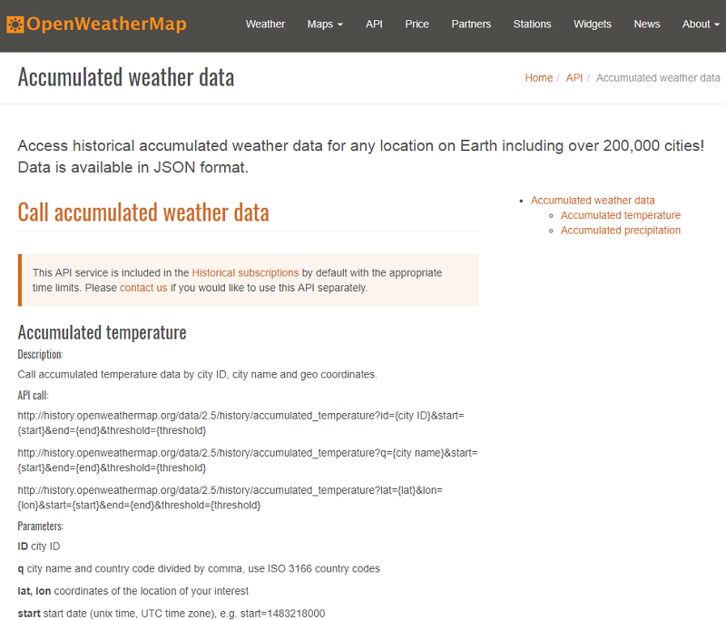 Openweathermap has a new section dedicated to users who work within the agricultural sector
