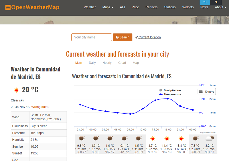 Weather news end new weather service - OpenWeatherMap