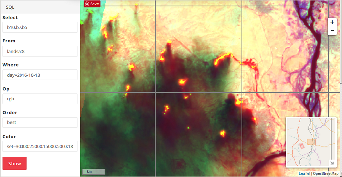 Satellite image in the thermal range