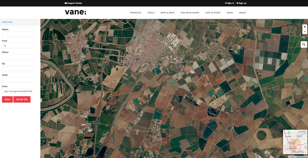 VANE online color processing on Rapideye imagery by Planet